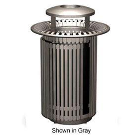 Breckenridge Series 32 Gal. Metal Waste Receptacle w/Dome Top & Snuffer - Black