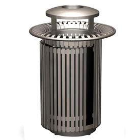 Petersen Breckenridge Series 32 Gallon Metal Waste Receptacle w/ Dome Top/Snuffer - Gray - BRKTA32