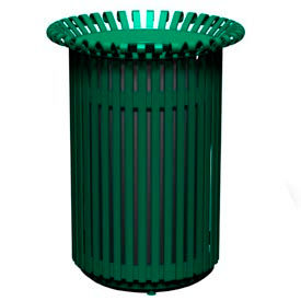 English Series 32 Gal. Metal Waste Receptacle - Green
