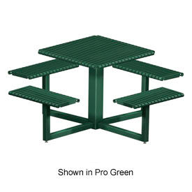 "4 Bench Square Slotted Steel Table 32"" Square Table Top Bronze by"