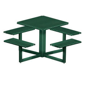 "4 Bench Square Slotted Steel Table 32"" Square Table Top Pro Green by"