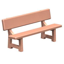 """Concrete Park Bench 72"""" Tan by"""