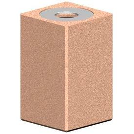 Petersen Square 22 Gallon Concrete Receptacle with Aluminum Lid - Tan - TC-SF-22B Sand Tan