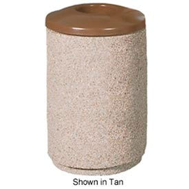 Petersen Round 36 Gallon Concrete Trash Receptacle with Aluminum Lid - Gray - TCR-MP