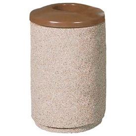 Petersen Round 36 Gallon Concrete Trash Receptacle with Aluminum Lid - Tan - TCR-MP