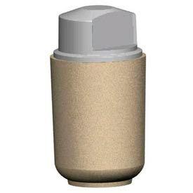 Petersen Round 36 Gallon Concrete Trash Receptacle with Square Corner Plastic Lid - Tan - TCR-RM
