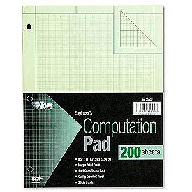 Engineering Computation Pad, 8-1/2x11, 3-Hole, 16 Lb. Green Bond, 100 Sheets/Pad