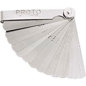 "Proto J00MM15 15 Blade Metric Feeler Gauge Set, 1/2"" x 3"" Blades"