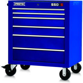 "Proto J553441-6BL 550S Series 34""W X 25""D X 41""H 6 Drawer Blue Roller Cabinet"
