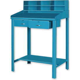 "36""W x 30""D Open Steel Shop Desk with Two Drawers - Blue"