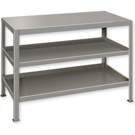 """Heavy Duty Machine Table w/ 3 Shelves - 36""""W x 18""""D Gray"""