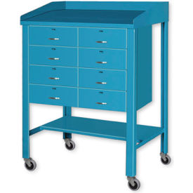 """36""""W x 30""""D Open Steel Shop Desk with Eight Drawers - Blue"""