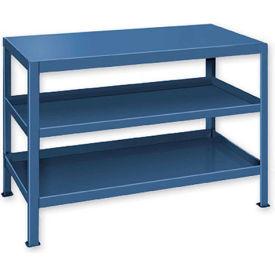 """Heavy Duty Machine Table w/ 3 Shelves - 60""""W x 18""""D Blue"""