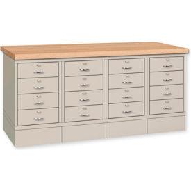 Drawer Base Bench - Steel Top Gray