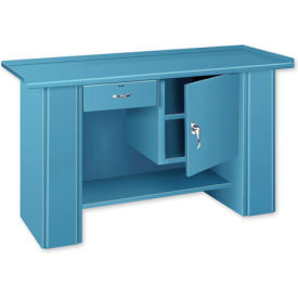 Drop Front Top Bench - 1 Drawer 1 Cabinet Gray