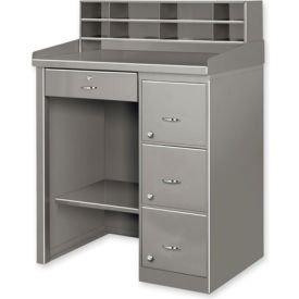 Single Pedestal Shop Desk w/ Filing Cabinet Gray