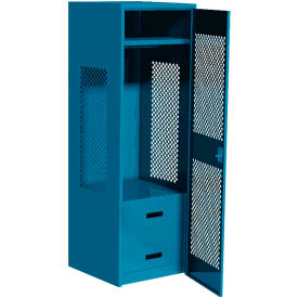 """Pucel All Welded Gear Locker w/Bottom 2 Drawers & Perforated Door, 24""""W x 18""""D x 72""""H, Blue"""