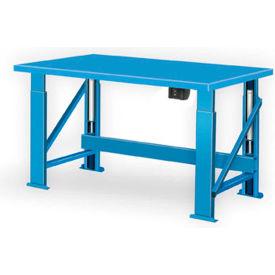 "Electric Hydraulic Bench w/ Steel Top - 120""W x 28""D Blue"