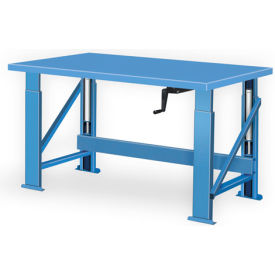 "Manual Hydraulic Bench w/ Steel Top - 120""W x 28""D Blue"