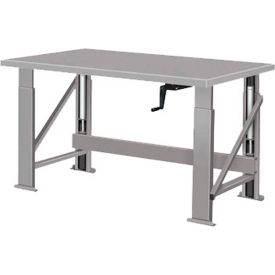 "Manual Hydraulic Bench w/ Steel Top - 48""W x 28""D Gray"