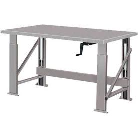 "Manual Hydraulic Bench w/ Steel Top - 72""W x 28""D Gray"