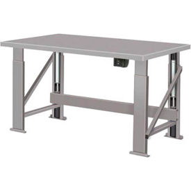 "Electric Hydraulic Bench w/ Steel Top - 96""W x 34""D Gray"
