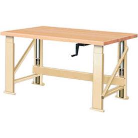 "Manual Hydraulic Bench w/ Wood Top - 60""W x 30""D Putty"