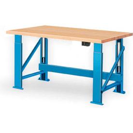 """Electric Hydraulic Bench w/ Wood Top - 72""""W x 30""""D Blue"""
