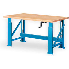 "Manual Hydraulic Bench w/ Wood Top - 72""W x 36""D Blue"