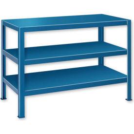 "Extra Heavy Duty Work Table w/ 3 Shelves - 72""W x 24""D Blue"