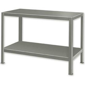 "Extra Heavy Duty Work Table w/ 2 Shelves - 48""W x 28""D Gray"
