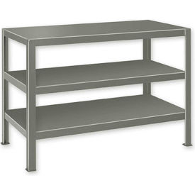 "Extra Heavy Duty Work Table w/ 3 Shelves - 48""W x 28""D Gray"