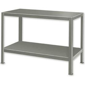 "Extra Heavy Duty Work Table w/ 2 Shelves - 48""W x 34""D Gray"