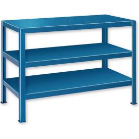 "Extra Heavy Duty Work Table w/ 3 Shelves - 60""W x 34""D Blue"