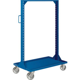 """Pucel Portable Bin and Shelf Cart PBSCL-36 w/ One Louvered Panel Blue, 36""""L x 24""""W x 61""""H"""