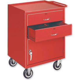 Mobile Drawer Bench w/ Steel Casters - 1 Cabinet and 2 Drawers Gray
