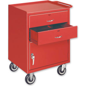 Mobile Drawer Bench w/ Steel Casters - 1 Cabinet and 2 Drawers Blue