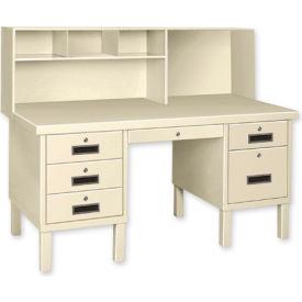 Double Pedestal Shop Desk w/ Filing Cabinet Gray