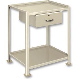 "Pucel™ TU-2436-2-1D Mobile Table 2 Shelves 1 Drawer 5"" Casters 36 x 24"
