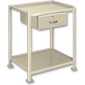 "Pucel™ TU-2436-2-2D Mobile Table 2 Shelves 2 Drawers 5"" Casters 36 x 24"