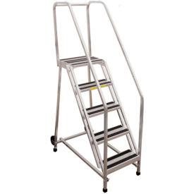 "P.W. Platforms 7 Step Rolling Aluminum Ladder W/ Handrail, 18"" Step Width - GA7SH18"