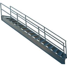 """P.W. Platforms 12 Step Steel Industrial Stairway, 36"""" Step Width - IS36-84G"""