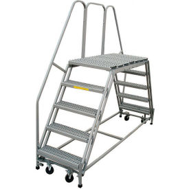 "P.W. Platforms 5 Step, 36""W x 49""D Steel Rolling Double Entry Platform - PWDE536-49"