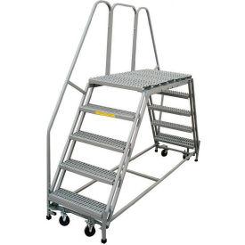 "P.W. Platforms 5 Step, 36""W x 63""D Steel Rolling Double Entry Platform - PWDE536-63"