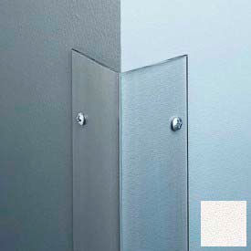 """Polycarbonate Surface Mounted 90° Corner Guard, 2-1/2"""" Wing & 8'H, Linen WH, Drilled"""