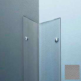 """Polycarbonate Surface Mounted 90° Corner Guard, 2-1/2"""" Wing, 4'H, Gray, Taped"""