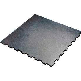 "Interlocking Corner Tile, Beveled Outside Edges, 23-1/16""L x 23-5/16""W, 1/2"" H, Blk. W/Blue Flecks - Pkg Qty 16"