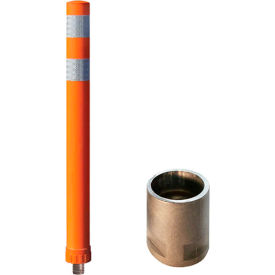"City Post® 36"" Channelizer Post, Fluorescent Orange w/ 3"" White Reflective Tape, 8CP36FLO900"