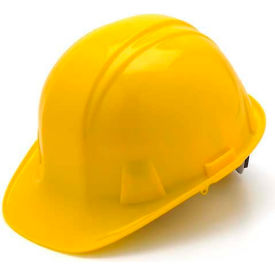Yellow Cap Style 4 Point Ratchet Suspension Hardhat Package Count 16 by