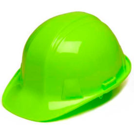 Hi Vis Green Cap Style 4 Point Ratchet Hardhat Package Count 16 by